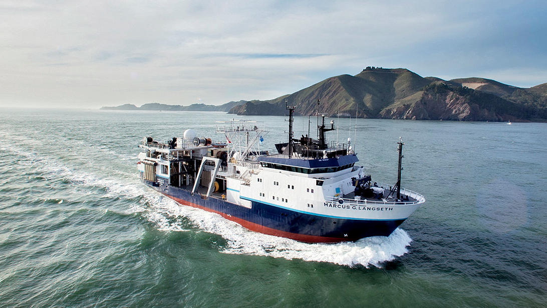 The Marcus G. Langseth research vessel at sea