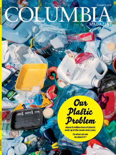 Cover of Columbia Magazine summer 2019 issue / photo of plastic trash