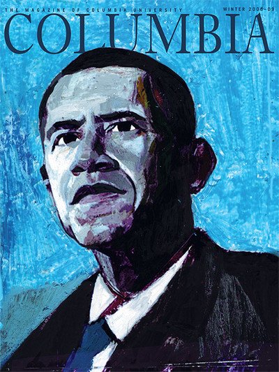 Winter 2008 cover of Columbia Magazine, featuring illustration of Barack Obama by Andrea Ventura