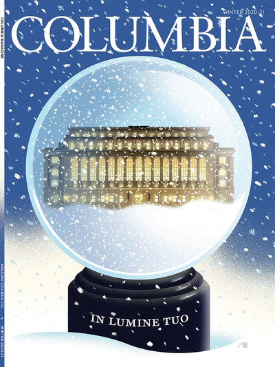 Winter 2020-21 cover of Columbia Magazine, art by Bob Staake